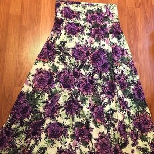 LuLaRoe Purple and Green Maxi Skirt - XL